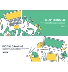 Lined outline flat graphic web design drawing vector