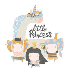 little princess girls with magic unicorn on white vector image