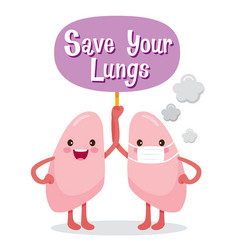 Lungs human internal organ cartoon character vector