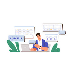 Man working with big data and databases using vector