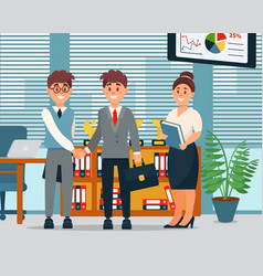 Meeting business people characters in office vector