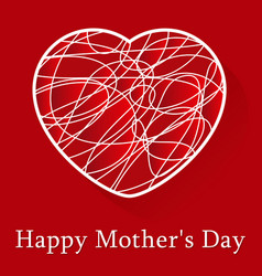 Mothers day greeting card - white scribble heart vector