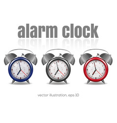 multicolored alarm clocks on a white background vector image