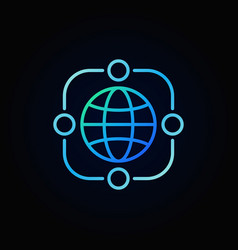 Outsourcing blue line icon made with earth vector