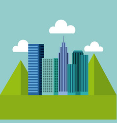 panorama buildings urban with mountains natural vector image