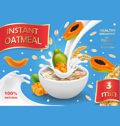 papaya with oatmeal flakes in milk vector image