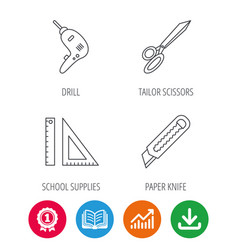 Paper knife school supplies and scissors icons vector