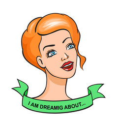 Pop art style girl head sticker vector