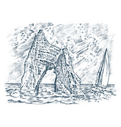 rock in sea vintage landscape sailing ship vector image