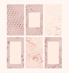 rose gold set backgrounds for social media vector image