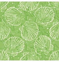Seamless background outline seashells vector image