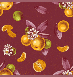 Seamless pattern with mandarin branches and slices vector