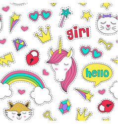 Seamless pattern with stickers for girl vector