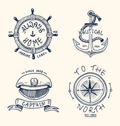 set engraved vintage hand drawn old labels vector image