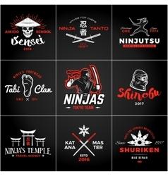 set japan ninjas logo katana weapon insignia vector image