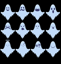 set of cartoon ghosts halloween emoji vector image