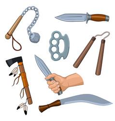 Set of cold arms cartoon vector