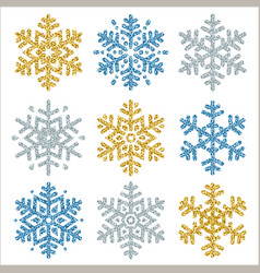 Set of color glittering snowflakes over white vector