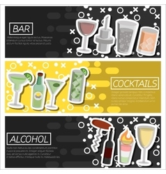 Set of Horizontal Banners about bar vector image