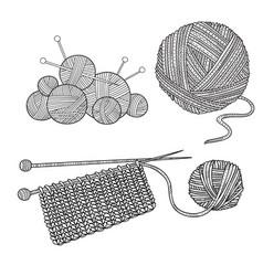 Set of knitting tools and yarn vector