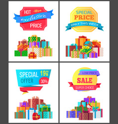 set of special price exclusive discount posters vector image