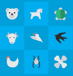 set simple fauna icons vector image