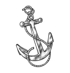 Sketch vintage anchor with rope anchorage vector