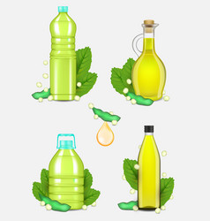 Soy oil bottle set realistic vector