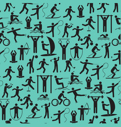 sport icon playing people black background pattern vector image vector image