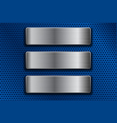 steel plates on blue metal perforated background vector image