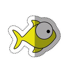 sticker colorful silhouette fish aquatic animal vector image
