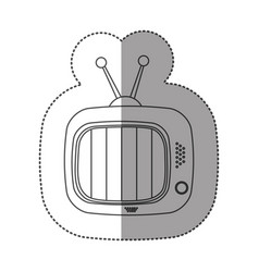 Sticker contour of tv set icon flat vector