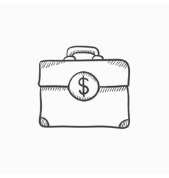 Suitcase with dollar symbol sketch icon vector image