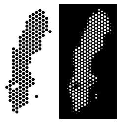 sweden map hexagonal mosaic vector image