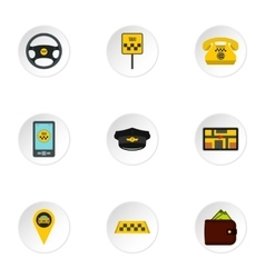 Taxi order icons set flat style vector