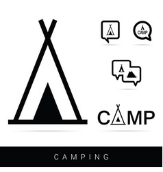 tent camping icon set in black vector image