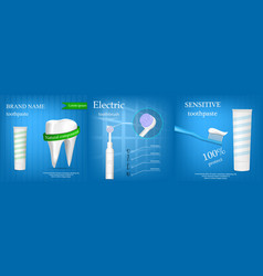 toothbrush banner concept set realistic style vector image