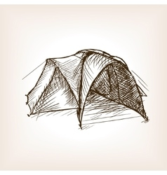 Tourist tent sketch style vector