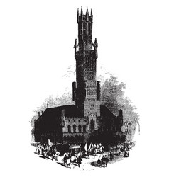 town hall uncaring demolitions vintage engraving vector image