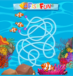 underwater fish maze game template vector image