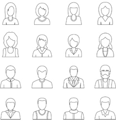 Various people icons set outline style vector