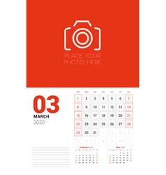 Wall calendar planner template for 2020 year vector