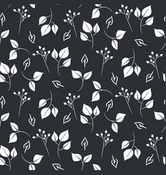 white leaves and dogrose seamless pattern vector image