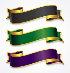 Wide ribbons with gold trim vector