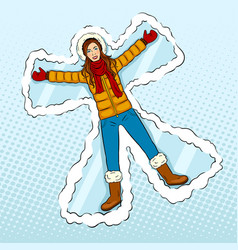 Winter girl makes snow angel pop art vector