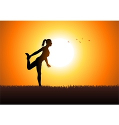 Woman stretching her leg vector