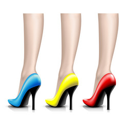 Womens shoes from a varnish on leg vector