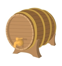 Wooden barrel cartoon icon vector image