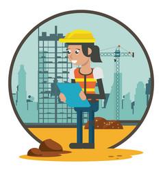 Worker geometric cartoon vector