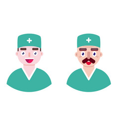 young and old doctors vector image